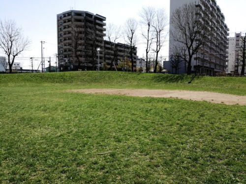 野球場レフト側の丘