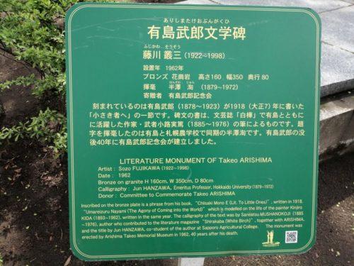 有島武郎文学碑の説明