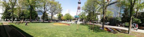 パノラマによる大通公園2丁目全体。