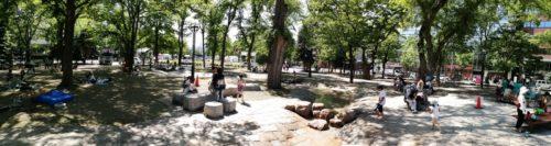 パノラマによる大通公園9丁目の遊水路エリア全体。
