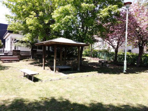 木陰の休憩スペース